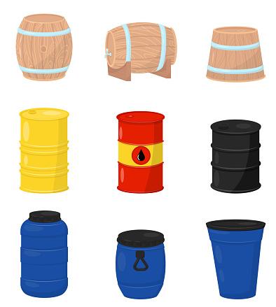 다양 한 배럴의 평면 벡터 집합입니다 맥주 또는 와인 플라스틱 물 탱크 금속 나무 컨테이너 원유와 드럼 0명에 대한 스톡 벡터 아트 및 기타 이미지