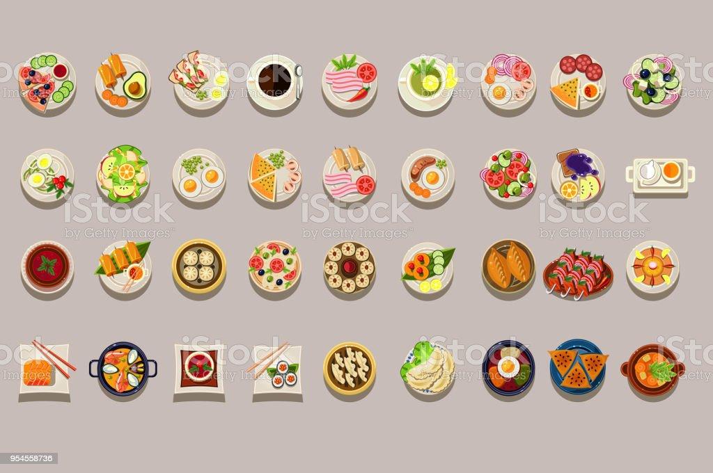 Flache Vektor-Set verschiedener Gerichte. Detaillierte Essen Symbole. Kaffee und grünem Tee. Kulinarische Themenabende. Leckeres Essen. Elemente für Restaurant oder Café-Menü – Vektorgrafik