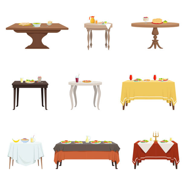 Flat vector set of wooden dinner tables with various food and drinks. Cartoon kitchen furniture. Breakfast, lunch, dinner vector art illustration