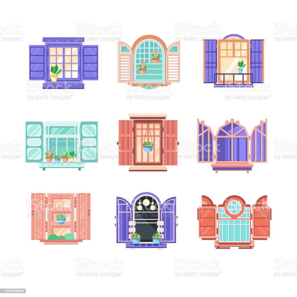 Flat Vector Set Of Wooden Window Frames With Doors Elements For ...
