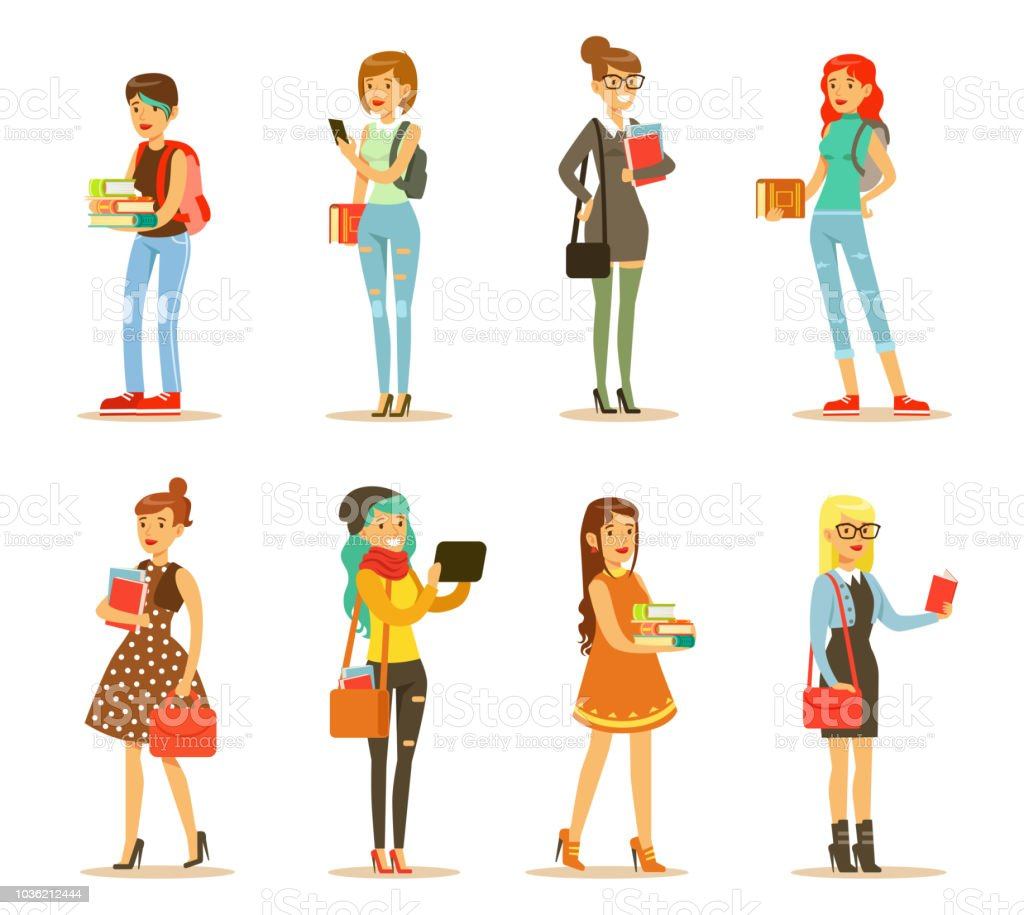 Flat vector set of young girls with books and bags. Students of college or university. Cartoon female characters in stylish casual clothes vector art illustration