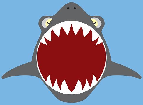 Flat Vector Shark Attack