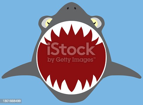 A flat vector shark with mouth open is swimming toward viewer