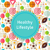Sport and Fitness Background. Flat Style Vector Illustration for Exercise and Physical Activity Promotion Template. Colorful Objects for Advertising.