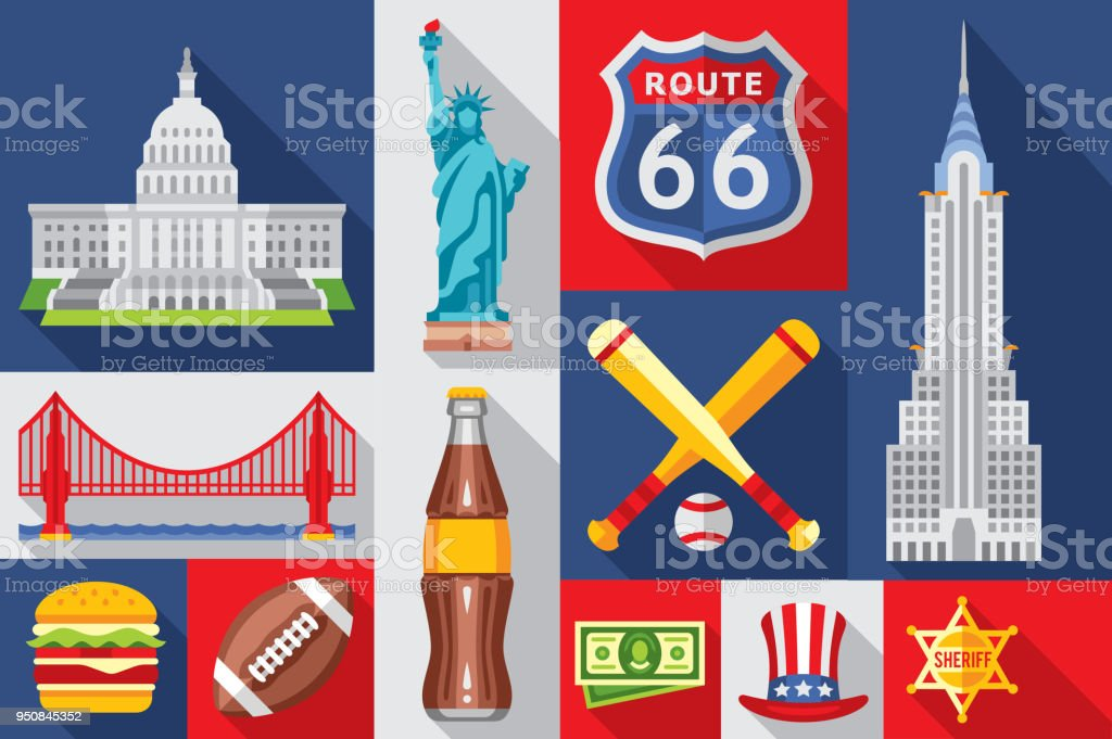 Flat Vector Symbols Of America White House Statue Of Liberty