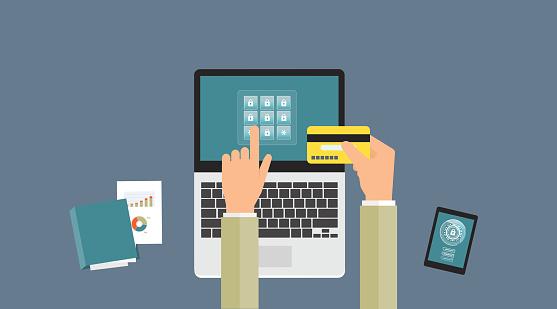 Electronic banking stock illustrations