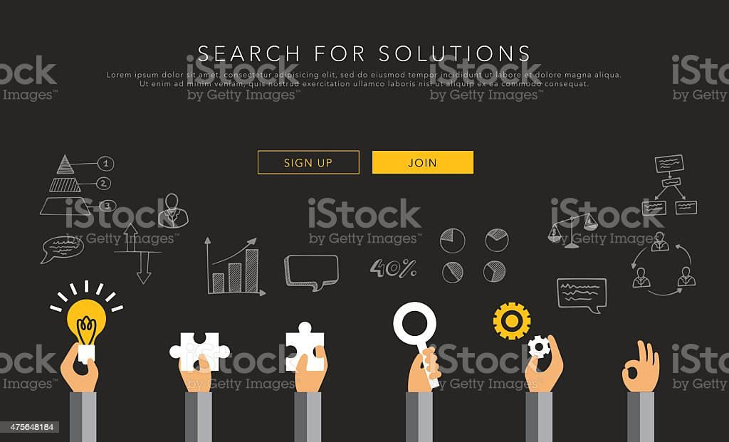 flat vector template search for solutions vector art illustration