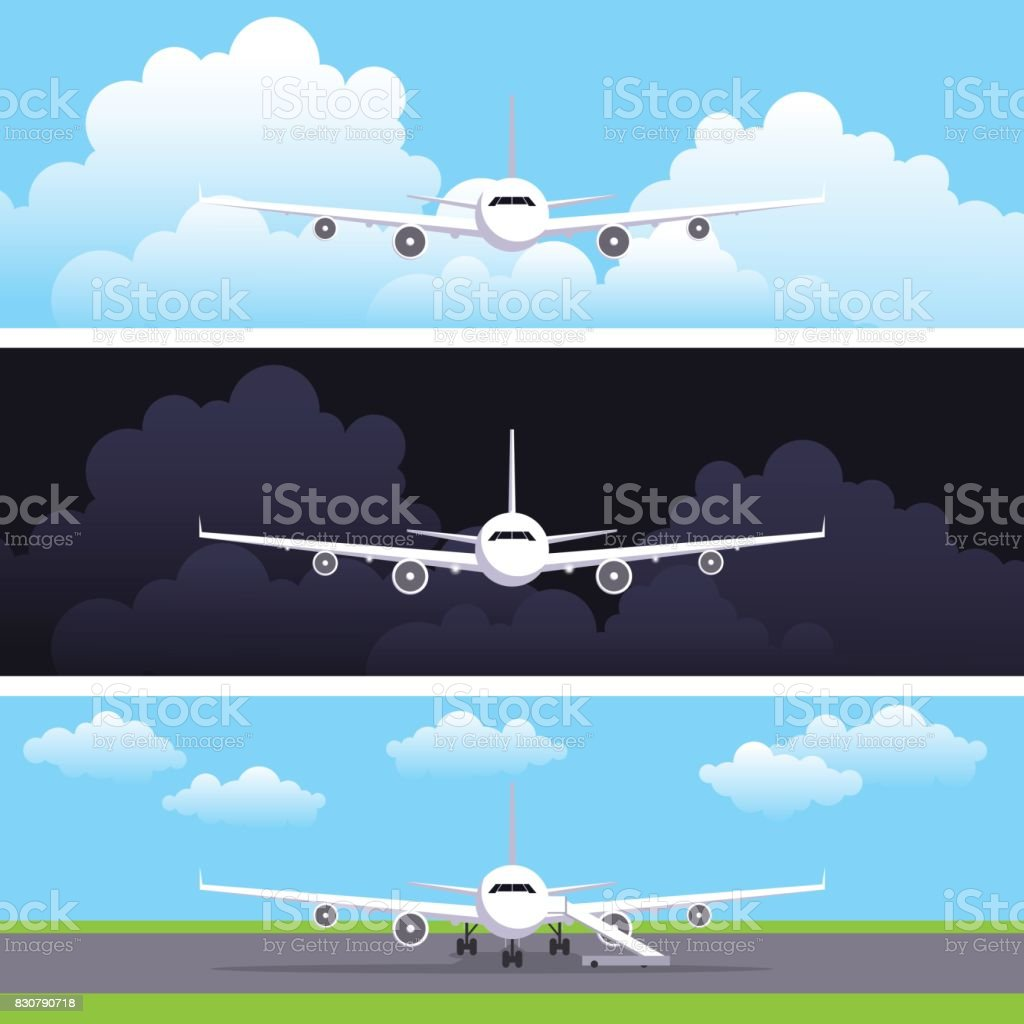 Flat vector web banners set with airplanes. Day flight, night flight. The plane costs on a landing strip at the airport. Header or flyer vector template vector art illustration
