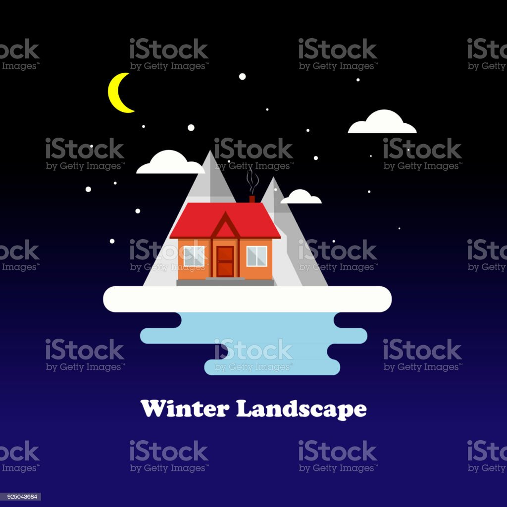 Flat vector winter landscape with a house, mountains and falling snow on a blue background. Vector Illustration. vector art illustration