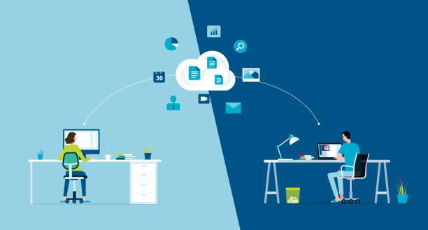 Flat Vector Work von zu Hause aus Arbeitsplatzkonzept und Business Smart Working Online verbinden überall Konzept – Vektorgrafik