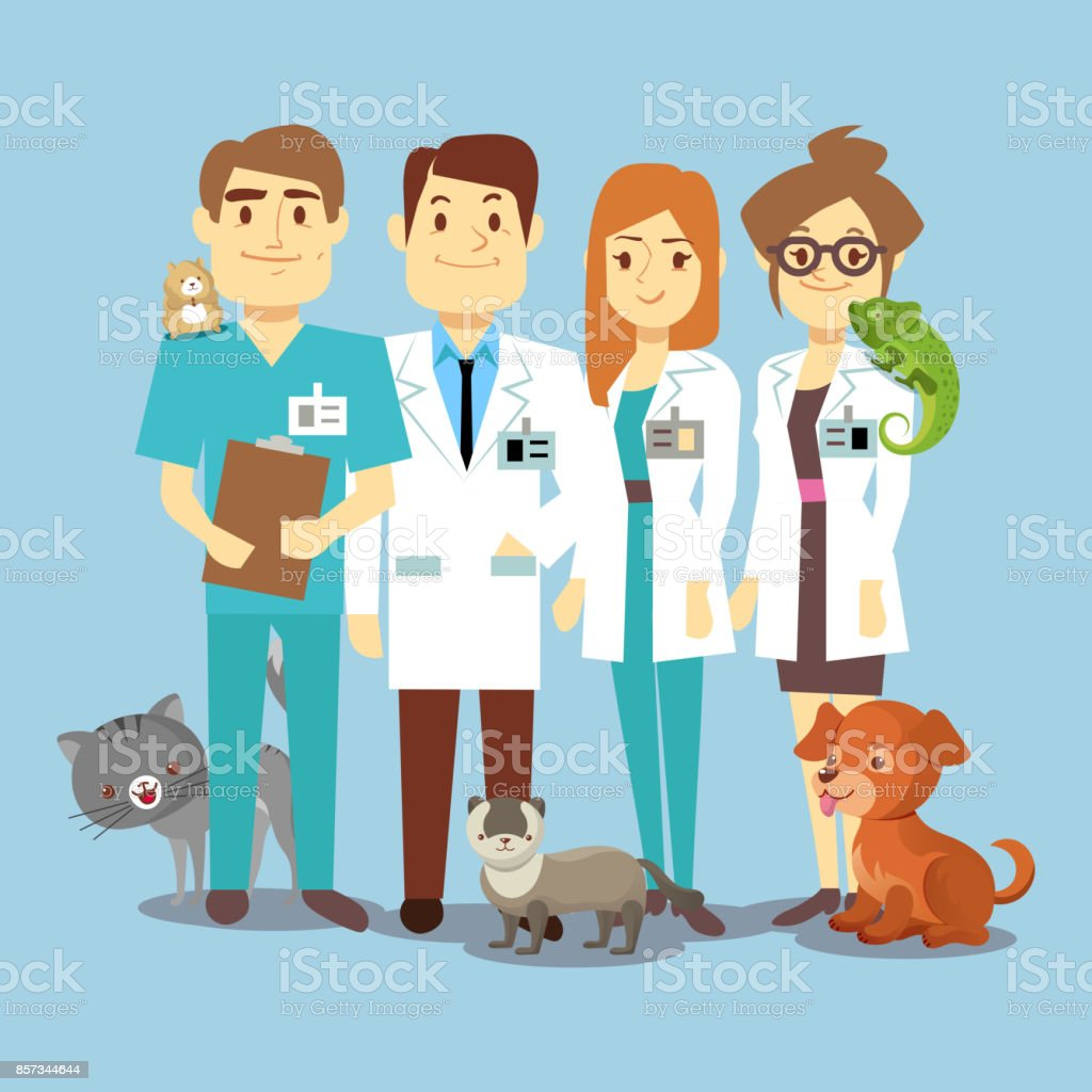 Flat veterinarians staff with cute animals vector art illustration