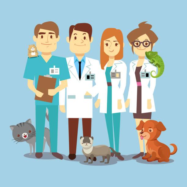 flat veterinarians staff with cute animals - veterinarian stock illustrations, clip art, cartoons, & icons