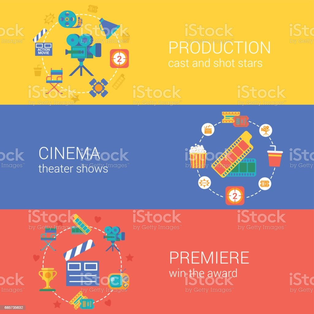 Flat video movie production cinema design icons set casting producing director filming. Modern web click infographics style vector illustration concept collection.