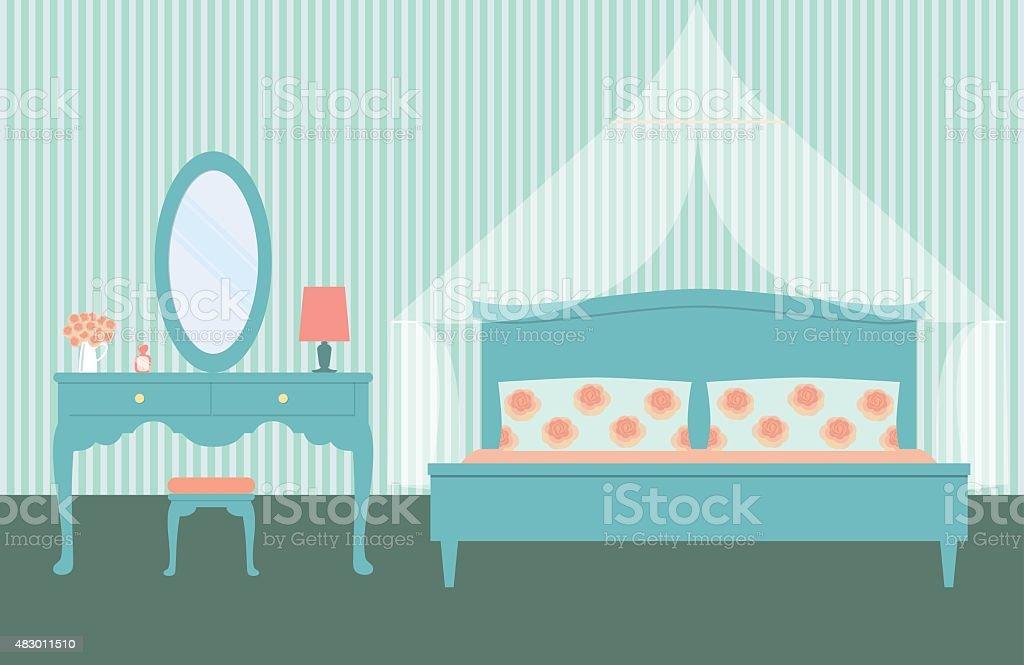Flache Vintage Schlafzimmer Mit Himmelbett Und Einer Frau ...