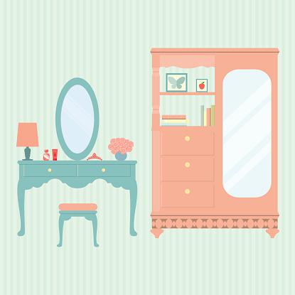 flat vintage dressing table and cabinet . vector illustration