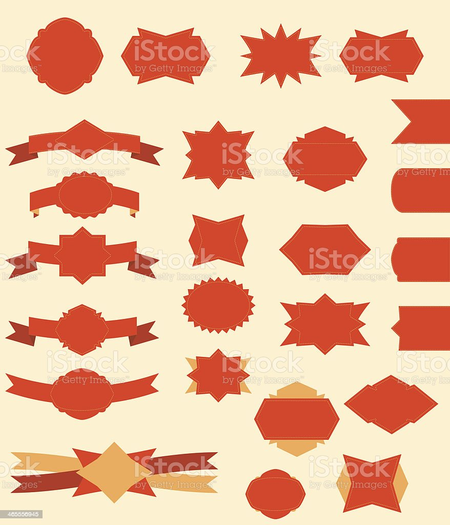 Flat vintage ribbons and labels royalty-free stock vector art