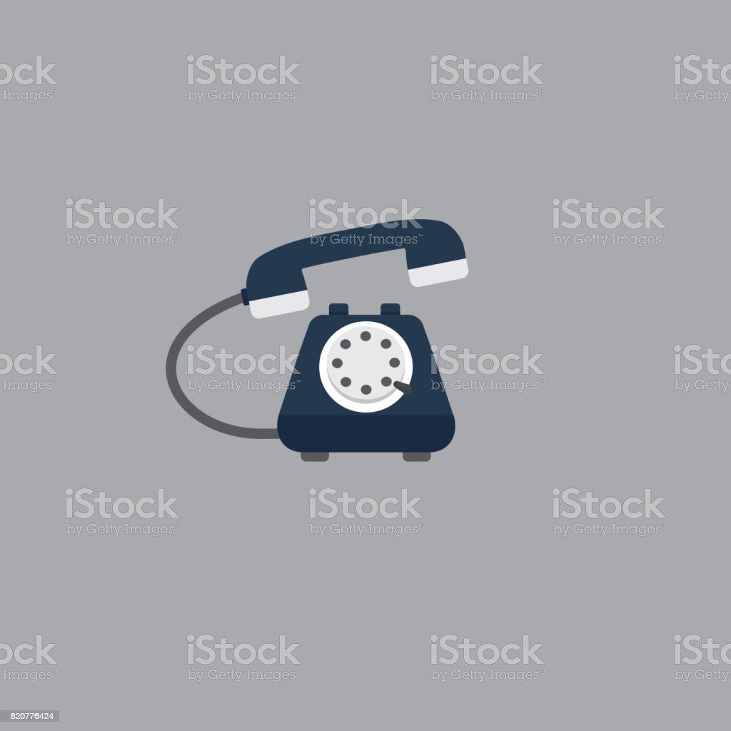 Flat Vintage Telephone. Telephone service Illustration vector art illustration