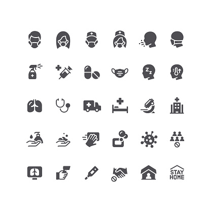 Flat Viral Infection Icons