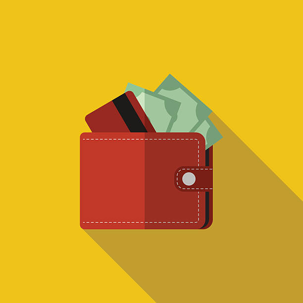 Flat wallet with card and cash with long shadow Flat red wallet with card and cash. Vector illustration, icon with long shadow. Modern design wallet stock illustrations