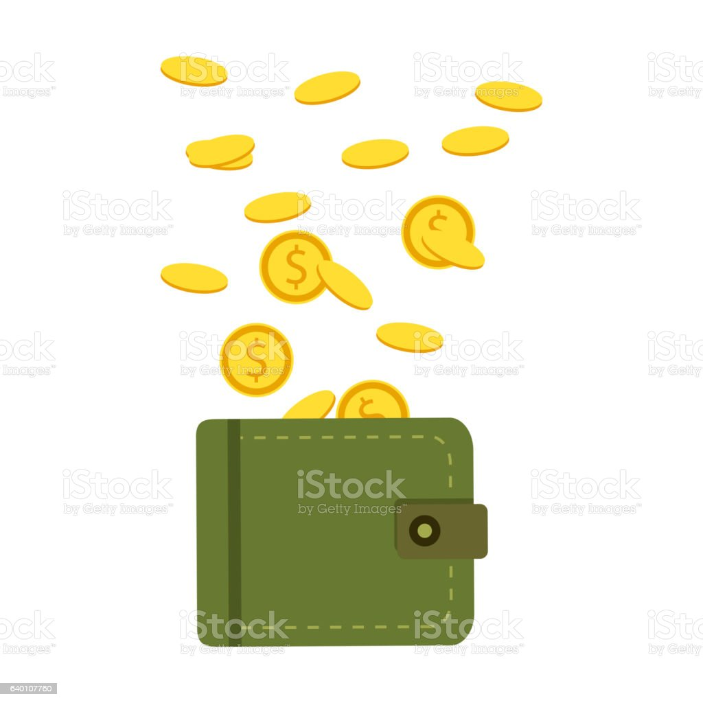 Credit Coin: Flat Wallet With Money Coins And Credit Card Cash Vector