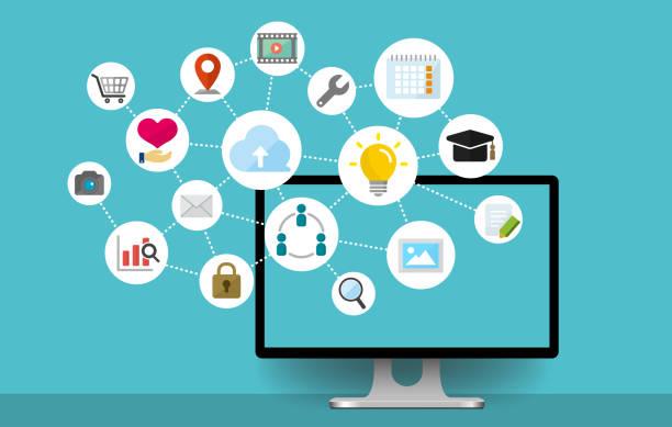 flat web banner illustration for business , technology, internet, computer etc. vector art illustration