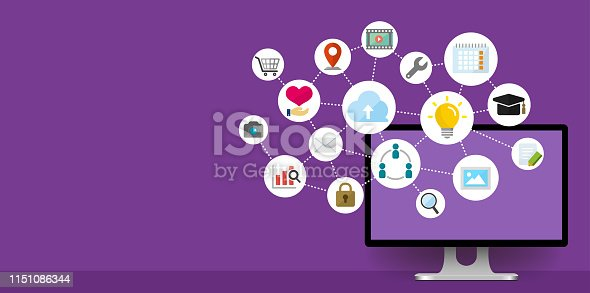 istock flat web banner illustration for business , technology, internet, computer etc. (with copy space) 1151086344