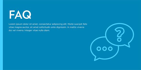 FAQ Flat Web Banner with Editable Stroke Icon.