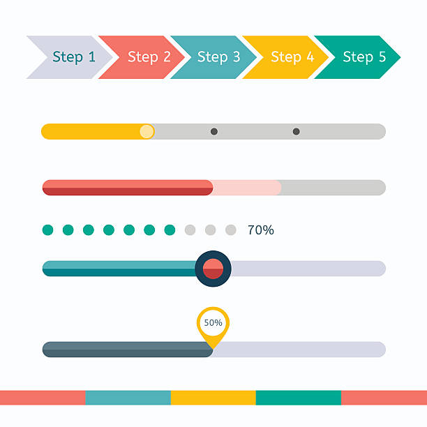 Flat web design progress bars set. Vector illustration Progress loading bars set on white. Vector set of various elements used for User Interface projects. rod stock illustrations