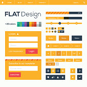Flat web design template and icons