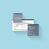Flat web icon. Coding interface window,programming