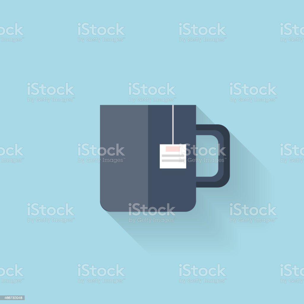 Flat web icon. Tea cup vector art illustration