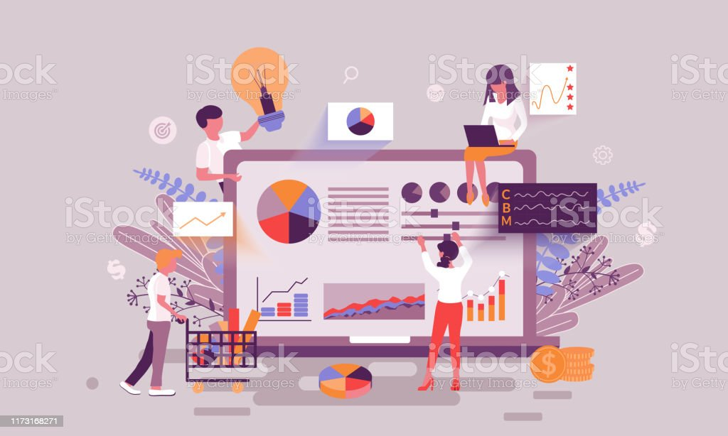 Flat web page design template of business statistic homepage or header decorated people character Flat web page design template of business statistic homepage or header decorated people character for website and mobile website development. Flat landing page template. Vector illustration. Accountancy stock vector
