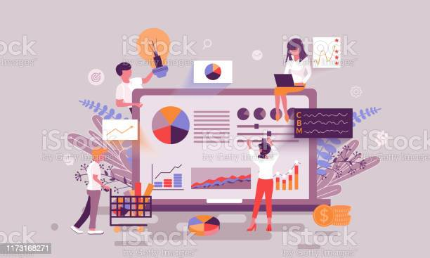 Flat Web Page Design Template Of Business Statistic Homepage Or Header Decorated People Character Stock Illustration - Download Image Now