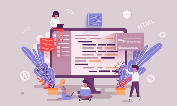 flat web page design template of programming skill homepage or header decorated people character - strona startowa stock illustrations