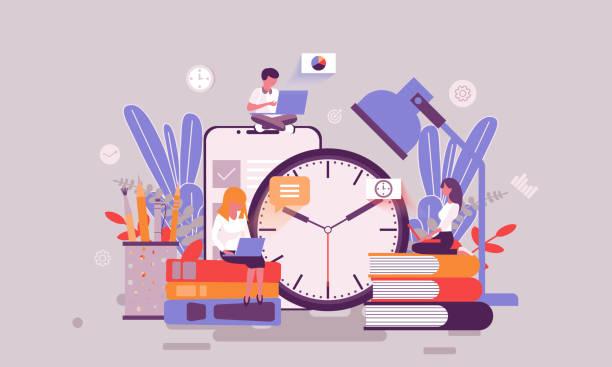 illustrazioni stock, clip art, cartoni animati e icone di tendenza di modello di design della pagina web piatta della home page di gestione del tempo o del personaggio delle persone decorate con intestazione - scuola