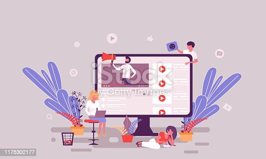 Flat web page design template of video blogging homepage or header decorated people character for website and mobile website development. Flat landing page template. Vector illustration.