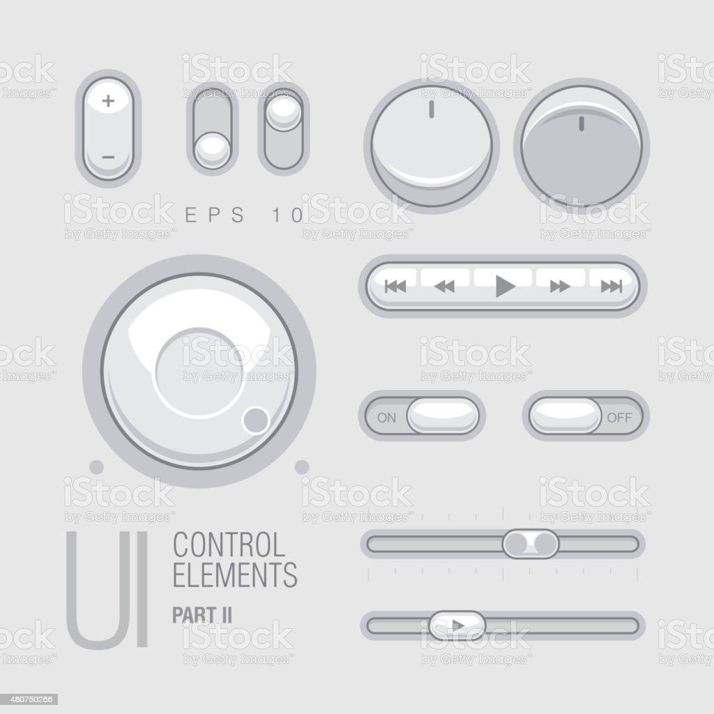 Flat Web UI Elements Design Gray vector art illustration