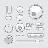 Flat Web UI Elements Design Gray