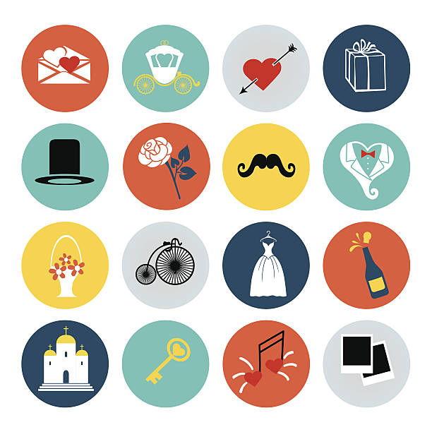 - hochzeit-icons set für web und mobile geräte - rosenhochzeitskleider stock-grafiken, -clipart, -cartoons und -symbole