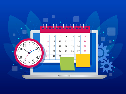 Flat weekly schedule and calendar planner organization management. Online app on laptop business workflow, time management, planning, task app, teamwork and meeting