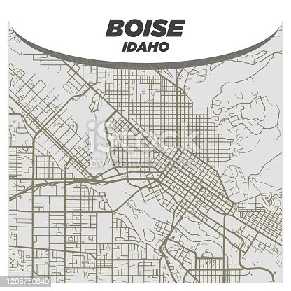 Flat White and Beige City Street Map of Boise Idaho on Modern Creative Background
