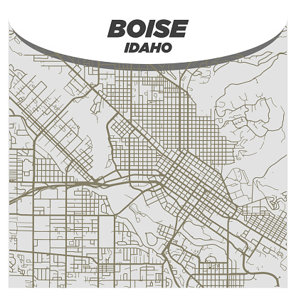 Flat White and Beige City Street Map of Boise Idaho on Modern Creative Background