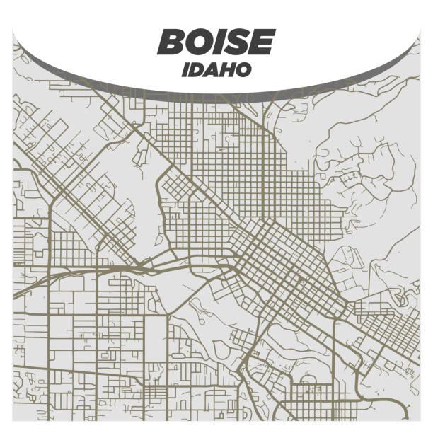 Flat White and Beige City Street Map of Boise Idaho on Modern Creative Background vector art illustration