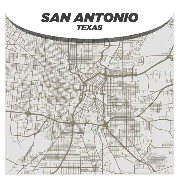 Flat White and Beige City Street Map of San Antonio Texas on Modern Creative Background vector art illustration