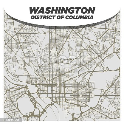 Flat White and Beige City Street Map of Washington DC USA on Modern Creative Background