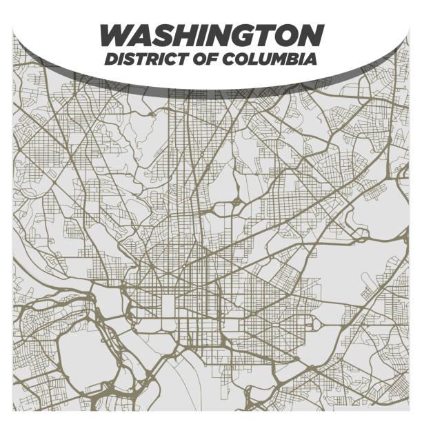 Flat White and Beige City Street Map of Washington DC USA on Modern Creative Background vector art illustration