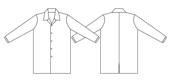 Flat White Lap Coats Uniform Shirt Template Vector.Front and Back View.