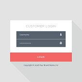 flat white login form UI template design