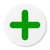 Flat white round sticker plus sign icon, button. Positive symbol isolated on white background. Vector EPS 10