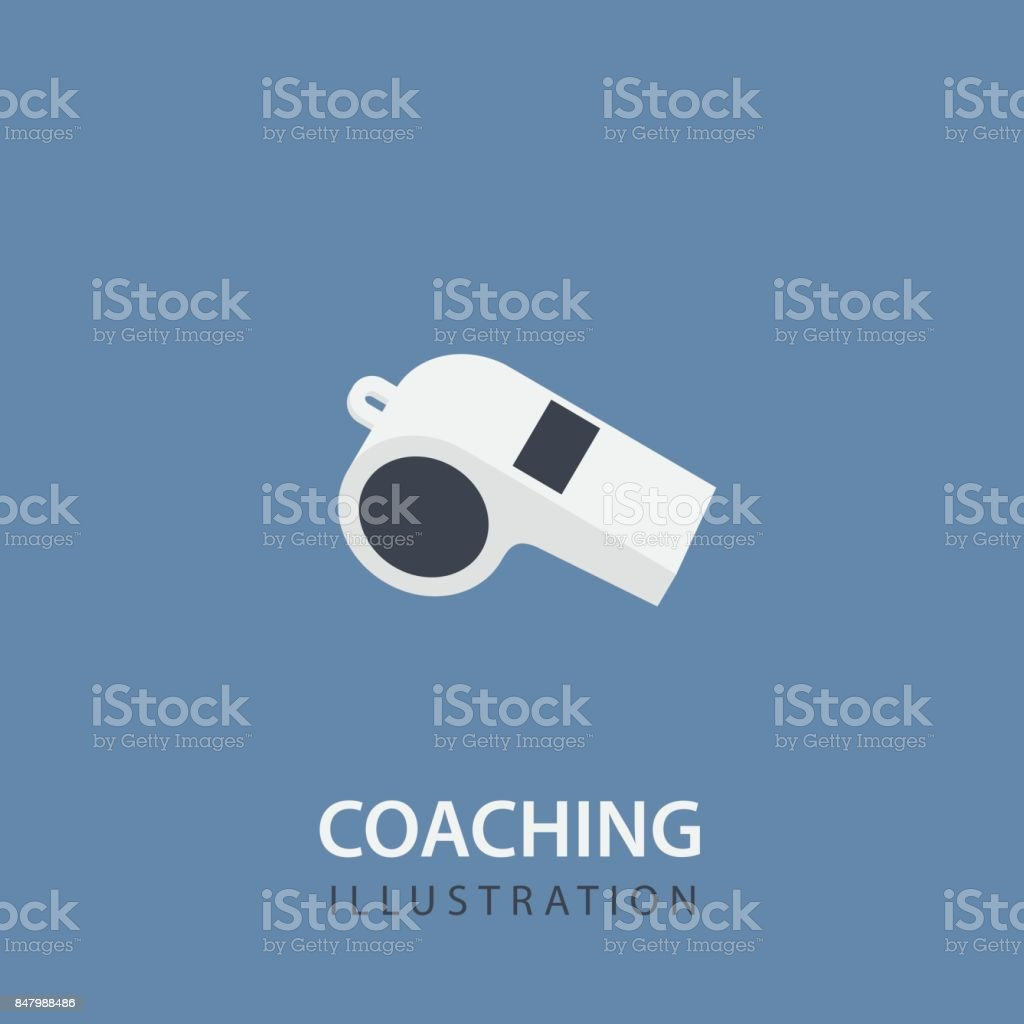 Flat White Whistle Isolated. Sport Coaching Concept royalty-free flat white whistle isolated sport coaching concept stock illustration - download image now
